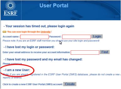 E  Create your Umbrella account from existing ESRF User